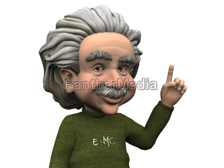 cartoon albert einstein posiadajace pomysl