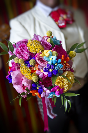 very colorful wedding bouquet