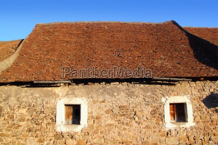 square clay roof tiles house in