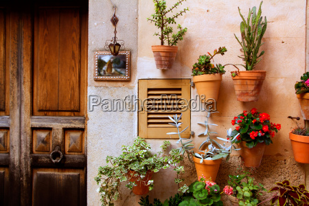 majorca valldemossa typical with flower pots