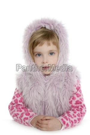 pink fur hood coat little girl
