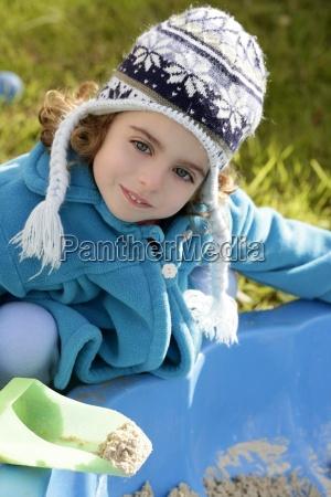 beautiful toddler girl winter hat portrait