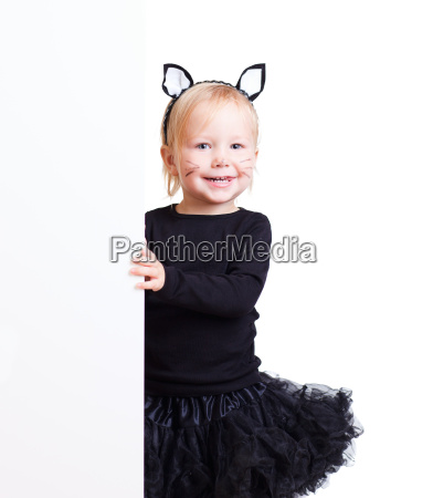 girl in black cat costume with