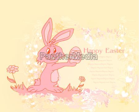 ilustracja szczesliwy wielkanocnego krolika przewozenia jajko