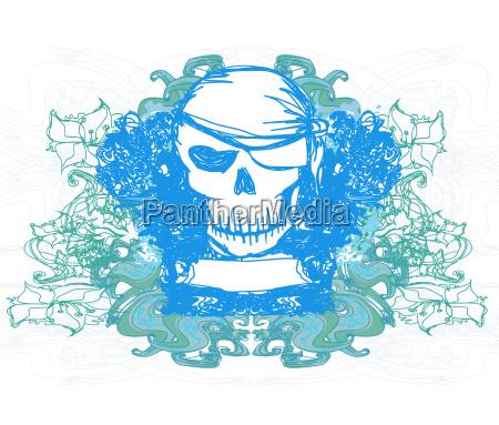 skull pirate karta retro