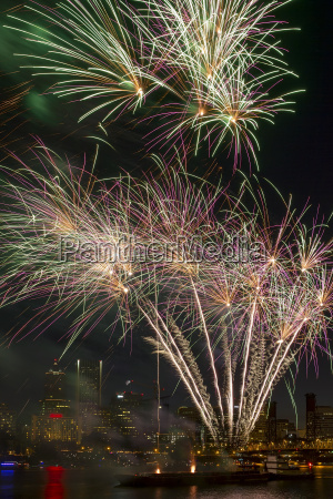 fireworks display along willamette river in
