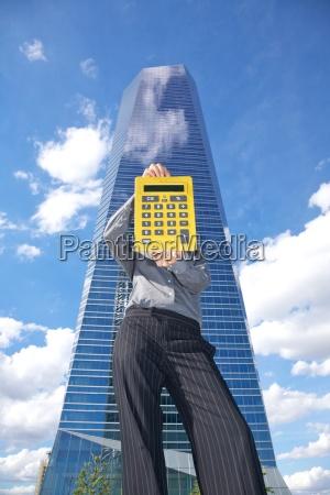 calculator and skyscraper
