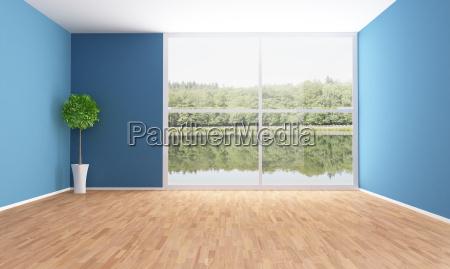 pusty pokoj niebieski