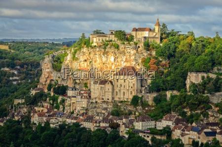 wioska rocamadour widok szeroki krajobrazufrancja