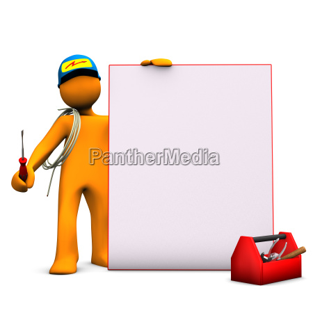 electrician with signboard