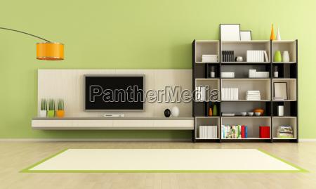 zielony pokoj dzienny z tv stand