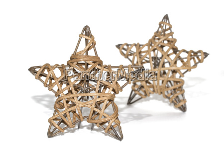 dwa pleciony gwiazda jako dekoracji swiatecznej