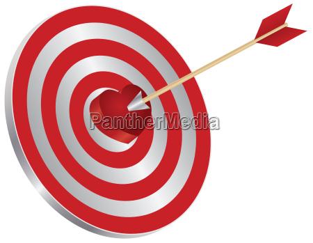 strzalka na docelowy serce bullseye ilustracja