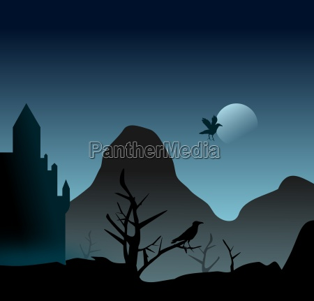 mystical scene with castle and raven