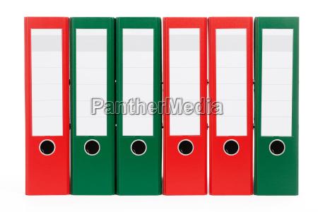 czerwony i zielony ringhefter