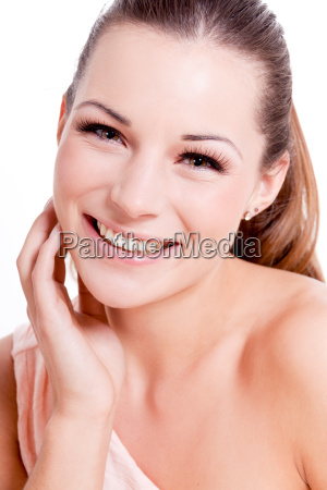young attractive woman laughing portrait makeup