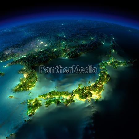 noc ziemia kawalek azji japonia korea