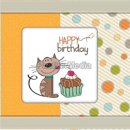 urodzinowa karta z pozdrowieniami z kotem