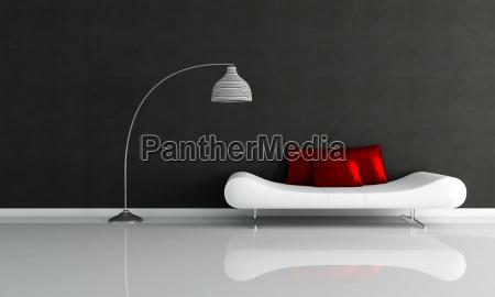 czarno bialy salon minimalistyczny