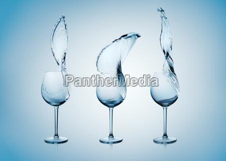 water splash in wine glass