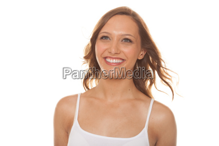 attractive woman smiling on white background