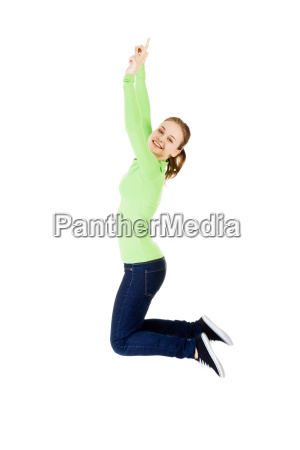 young happy caucasian woman jumping in