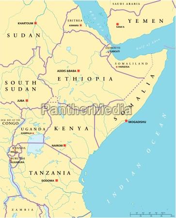 mapa polityczna afryki wschodniej