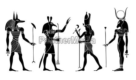 egipscy bogowie i bogini wektor