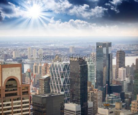 dramatic sky over new york city