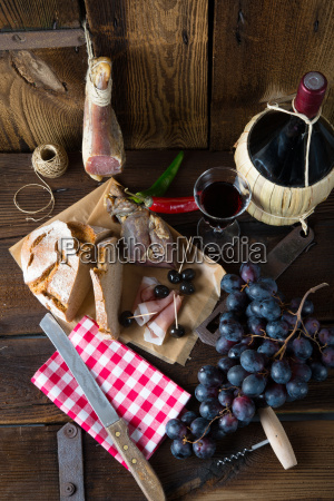 szynka, wino, i, chleb - 10025764