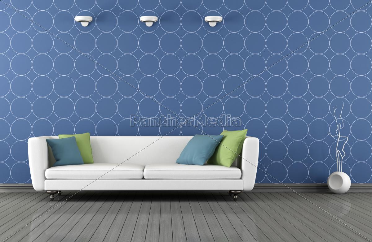 niebieski, i, biały, nowoczesny, salon - 10129275