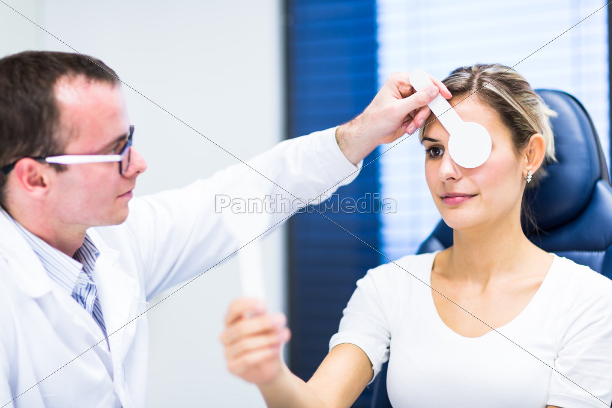 optometria, concept-Ładna, młoda, kobieta, o, jej - 10148137