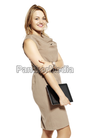 attractive businesswoman hand on hip