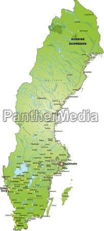 mapa szwecji jako zarys mapy na