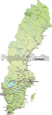 mapa szwecji z sieci transportowej w