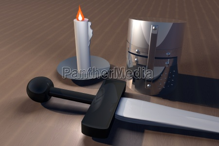 helm sword and candle