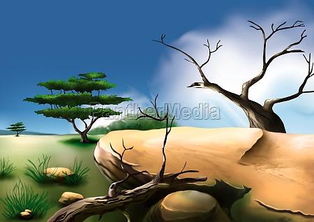 african bush background illustration