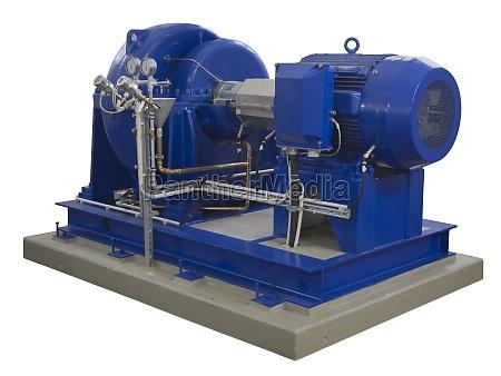 niebieski kompresor przemyslowy na bialym