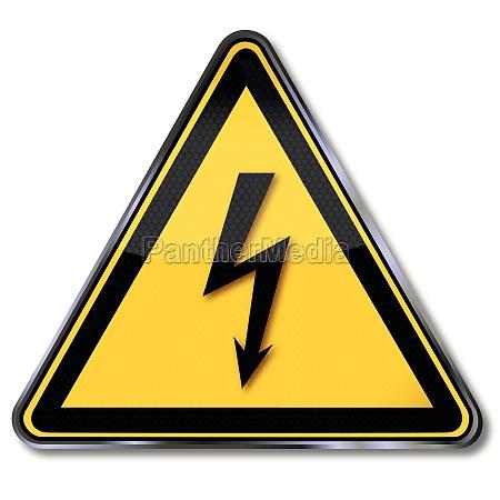 znaki ostrzegawcze z niebezpiecznym napieciem elektrycznym