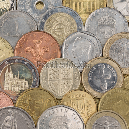 collection of coins as background