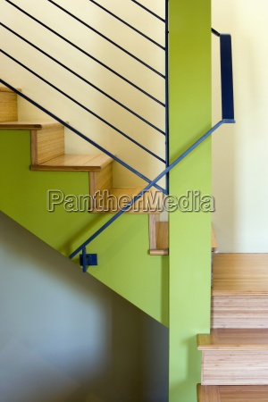 detail of modern staircase with green