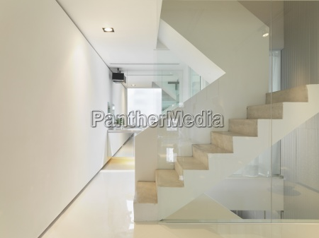white staircase in modern home