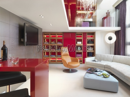 modern apartment home with red wall