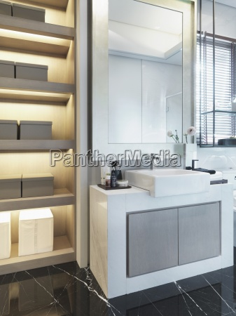 sink and shelves in modern bathroom
