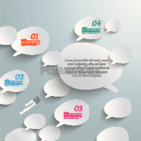 bevel speech bubbles white opinion infographic