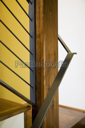 detail of modern hardwood stairwell and