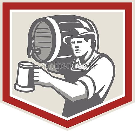 barman lifting barrel pouring beer mug
