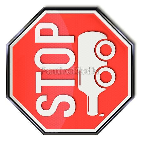 znak stop butelke na kolach i