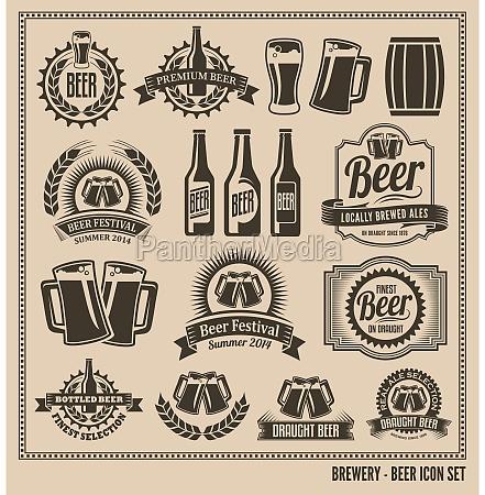 piwo zestaw ikon etykiety plakaty