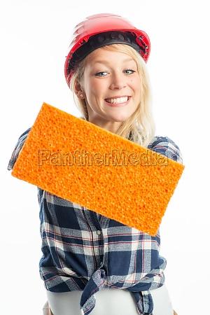 female artisan with sponge as advertising